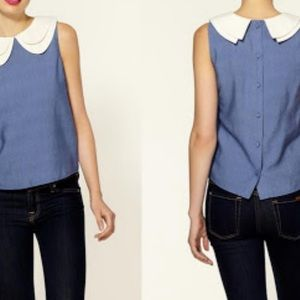 Tinley Road back buttons large collar preppy top